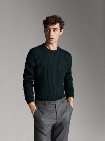 WOOL AND COTTON CABLE-KNIT SWEATER