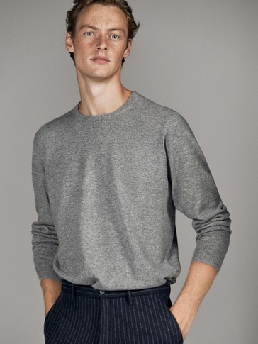 100% CASHMERE RIBBED DETAIL SWEATER