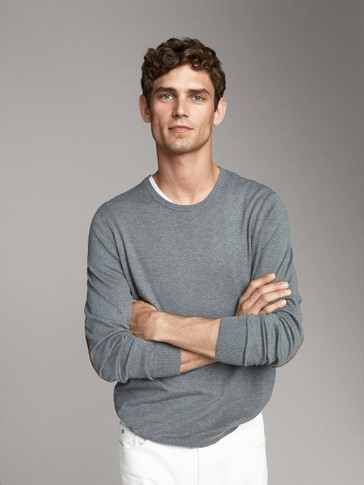 COTTON SILK SWEATER WITH ELBOW PATCHES