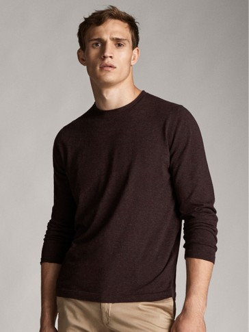 SOLID-COLOURED COTTON SILK CASHMERE SWEATER