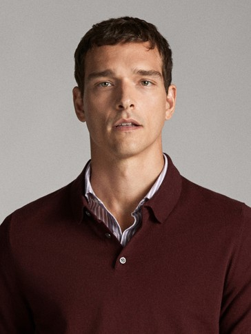 COTTON AND SILK POLO SWEATER