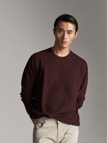 TEXTURED WEAVE COTTON SILK SWEATER