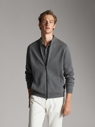 ZIPPED CARDIGAN WITH LEATHER TRIM