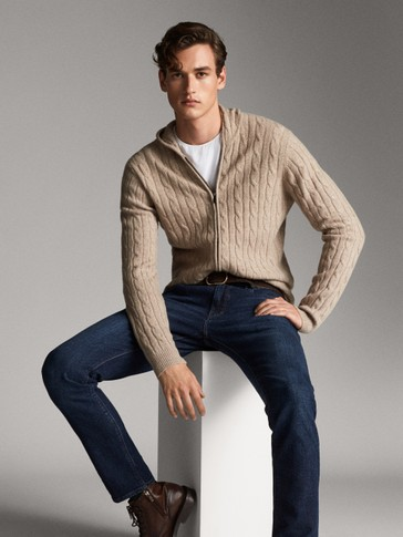CABLE-KNIT WOOL AND CASHMERE CARDIGAN