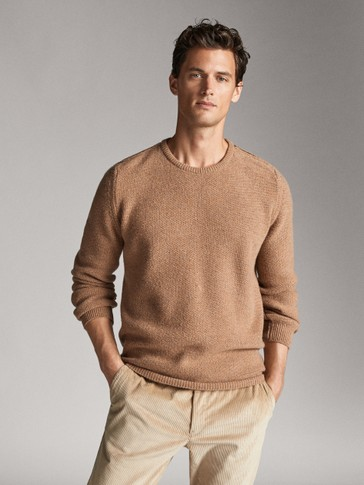 ROUND NECK WOOL SWEATER WITH LEATHER DETAIL