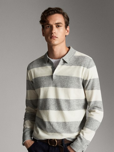 STRIPED WOOL CASHMERE POLO SWEATER