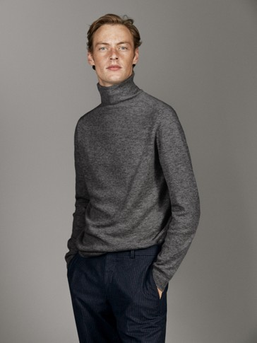 WOOL AND CASHMERE POLO NECK SWEATER
