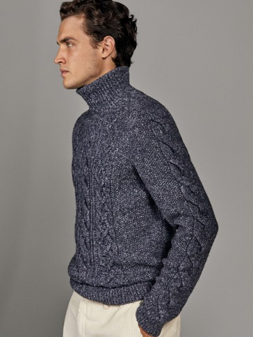 LIMITED EDITION NAVY POLO NECK SWEATER