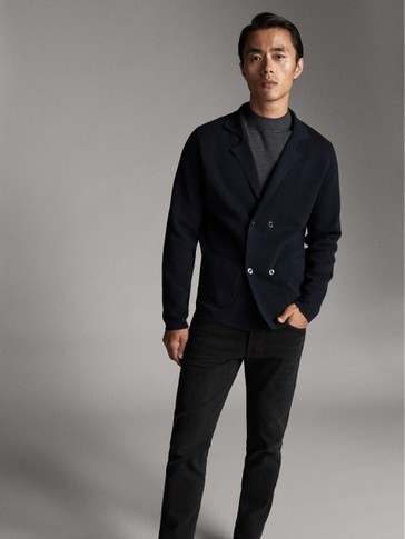 COTTON BLAZER WITH DOUBLE BUTTON FASTENING