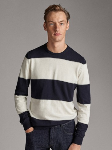 STRIPED COTTON AND SILK SWEATER