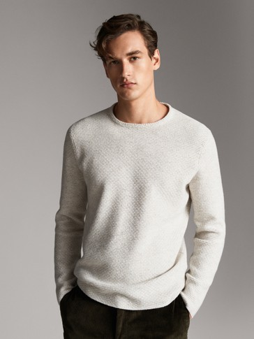 COTTON TEXTURED WEAVE SWEATER