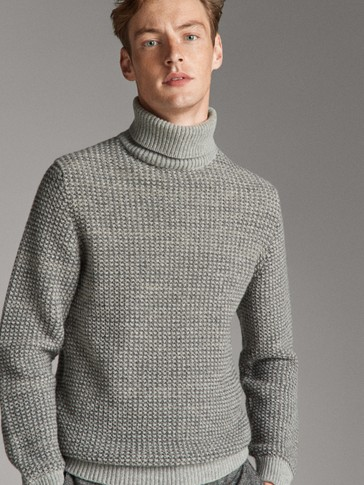 HIGH NECK TEXTURED WOOL SWEATER