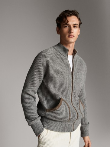 WOOL CARDIGAN WITH LEATHER DETAIL