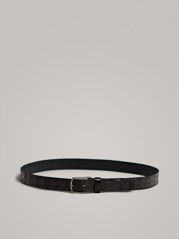 BLACK LEATHER BELT WITH MOCK-CROC EMBOSSING