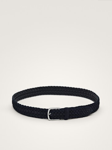 BRAIDED BLUE LEATHER BELT