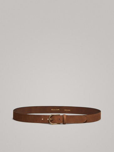 TUMBLED NUBUCK LEATHER BELT