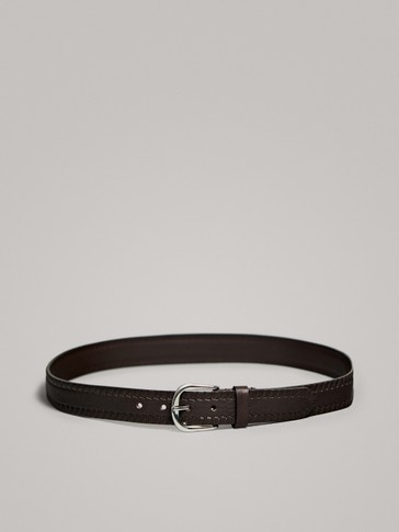 EMBOSSED COWHIDE BELT