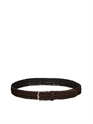 BRAIDED BROWN SPLIT SUEDE BELT