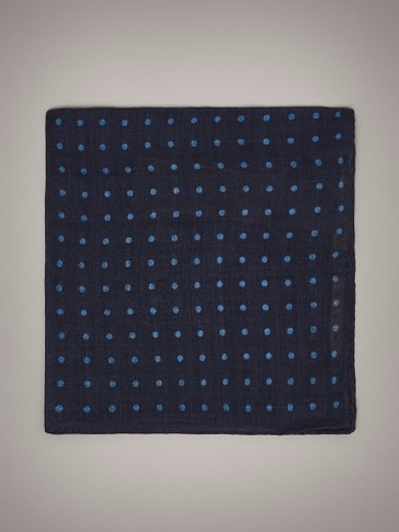 POLKA DOT WOOL POCKET SQUARE
