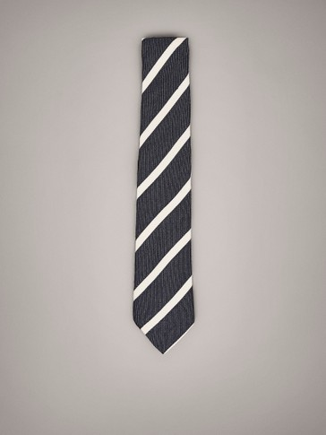 STRIPED WOOL SILK TIE