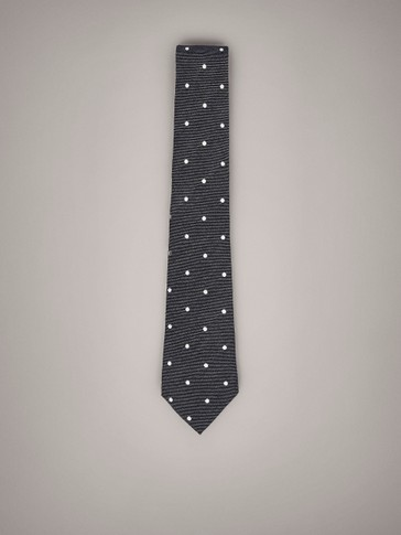 POLKA DOT WOOL SILK TIE