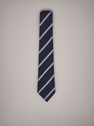 STRIPED COTTON SILK TIE
