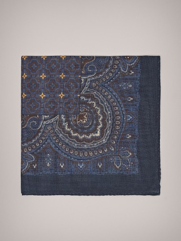 PAISLEY WOOL AND SILK POCKET SQUARE