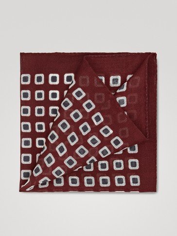 SQUARE PRINT WOOL AND SILK POCKET SQUARE