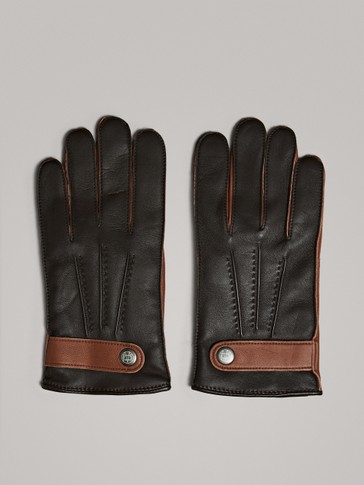 TWO-TONE LEATHER GLOVES
