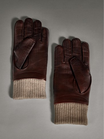 LIMITED EDITION LEATHER GLOVES WITH WOOLLEN CUFFS