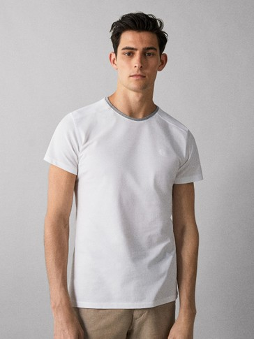 100% COTTON T-SHIRT WITH CONTRAST TRIM