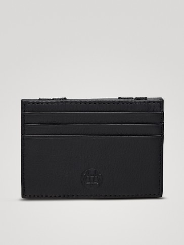 BLACK EMBOSSED LEATHER CARD HOLDER