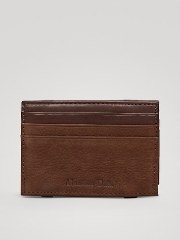 EMBOSSED LEATHER CARD HOLDER