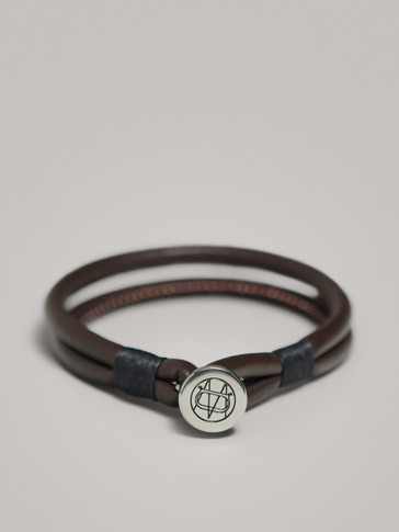 LEATHER CORD BRACELET WITH LOGO