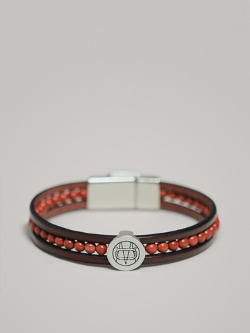 TRIPLE-STRAND LEATHER BRACELET WITH LOGO