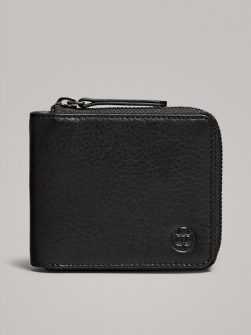 BLACK TUMBLED LEATHER ZIPPED WALLET