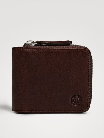 TUMBLED LEATHER ZIPPED WALLET