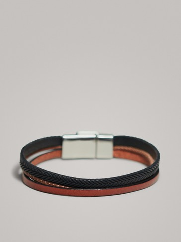 TRIPLE-STRAND LEATHER BRACELET