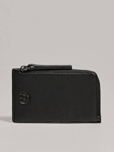 BLACK TUMBLED LEATHER ZIPPED CARD HOLDER