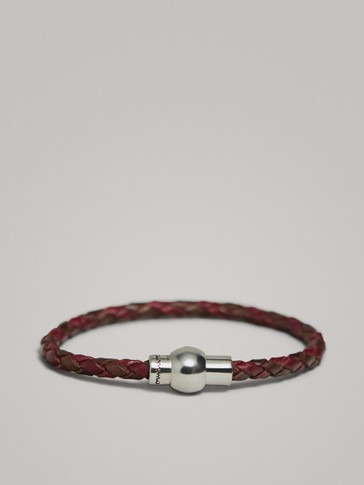 TWO-TONE TUBULAR BRAID LEATHER BRACELET