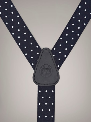 POLKA DOT BRACES WITH LEATHER DETAIL