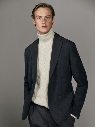 CONTRAST TWO-BUTTON WOOL BLAZER