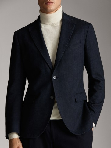 SLIM FIT NAVY BLUE HERRINGBONE COTTON BLAZER