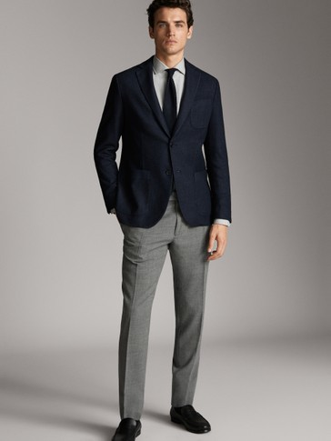SLIM FIT NAVY BLUE DYED WOOL BLAZER