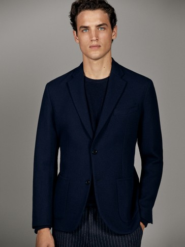 HANDMADE NAVY BLUE WOOL BLAZER