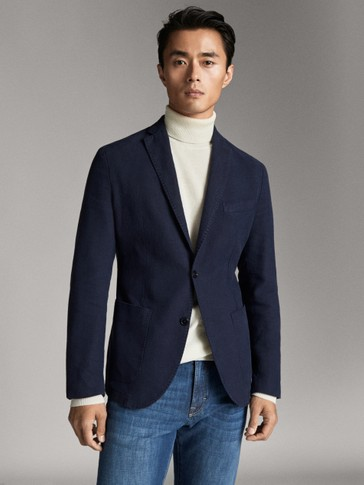 SLIM FIT DYED COTTON-LINEN BLAZER
