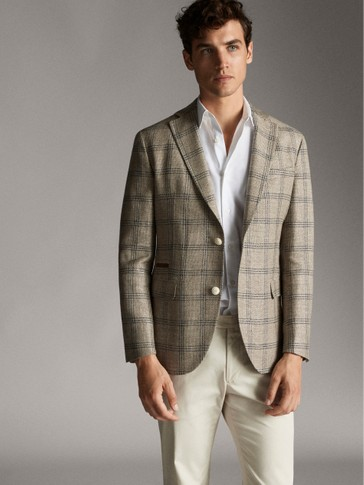 SLIM FIT CHECKED WOOL/LINEN BLAZER
