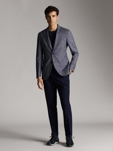 SLIM FIT TEXTURED WEAVE COTTON/WOOL BLAZER