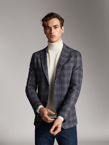 SLIM FIT NAVY WOOL/COTTON CHECK BLAZER