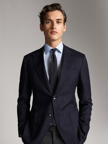 ELEGANTER KARIERTER SLIM-FIT-BLAZER